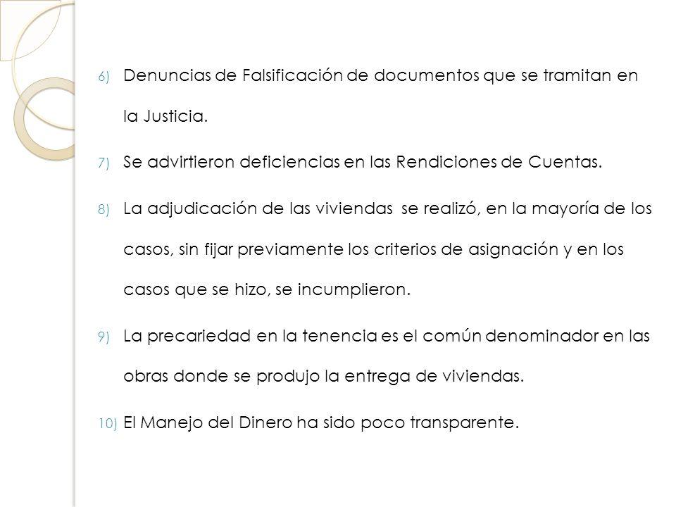 Denuncias de Falsificación de documentos que se tramitan en la Justicia.