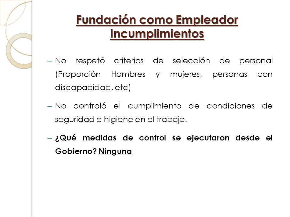 Fundación como Empleador Incumplimientos