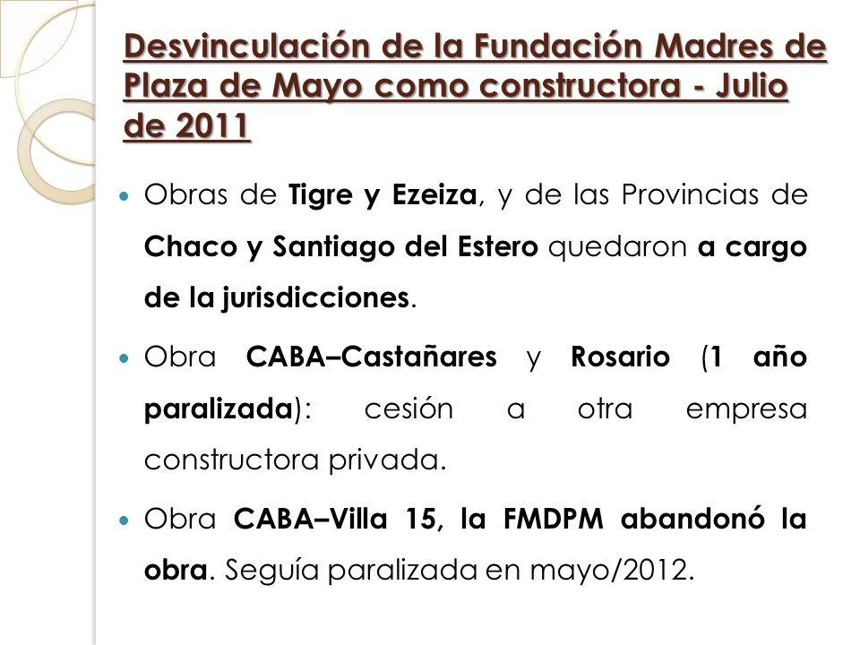 Desvinculación de la Fundación Madres de Plaza de Mayo como constructora - Julio de 2011