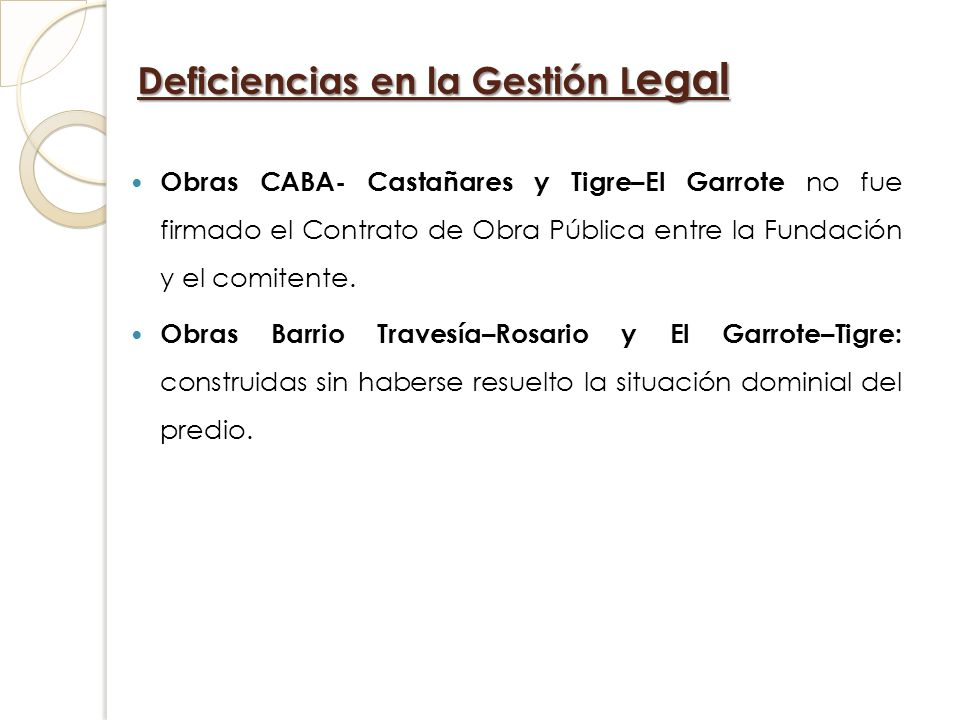 Deficiencias en la Gestión Legal