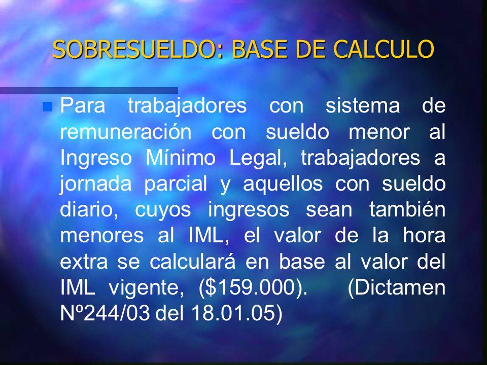 SOBRESUELDO: BASE DE CALCULO