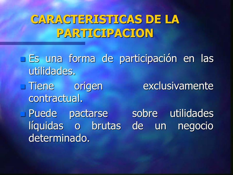 CARACTERISTICAS DE LA PARTICIPACION