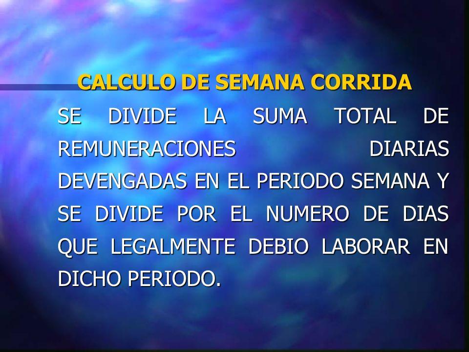 CALCULO DE SEMANA CORRIDA