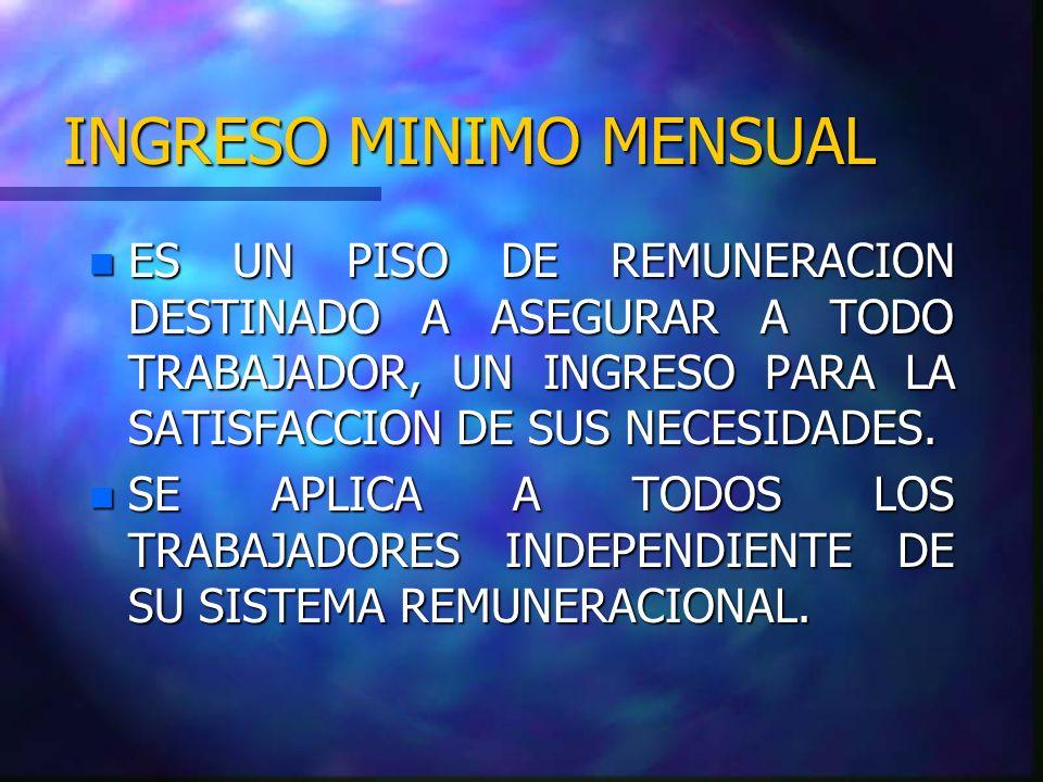 INGRESO MINIMO MENSUAL