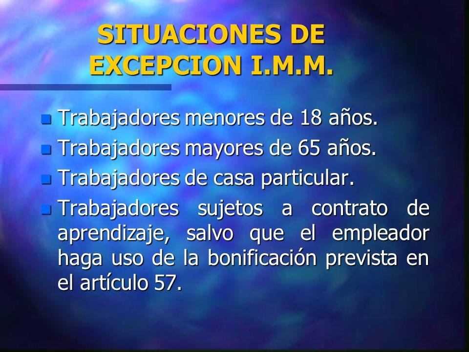 SITUACIONES DE EXCEPCION I.M.M.