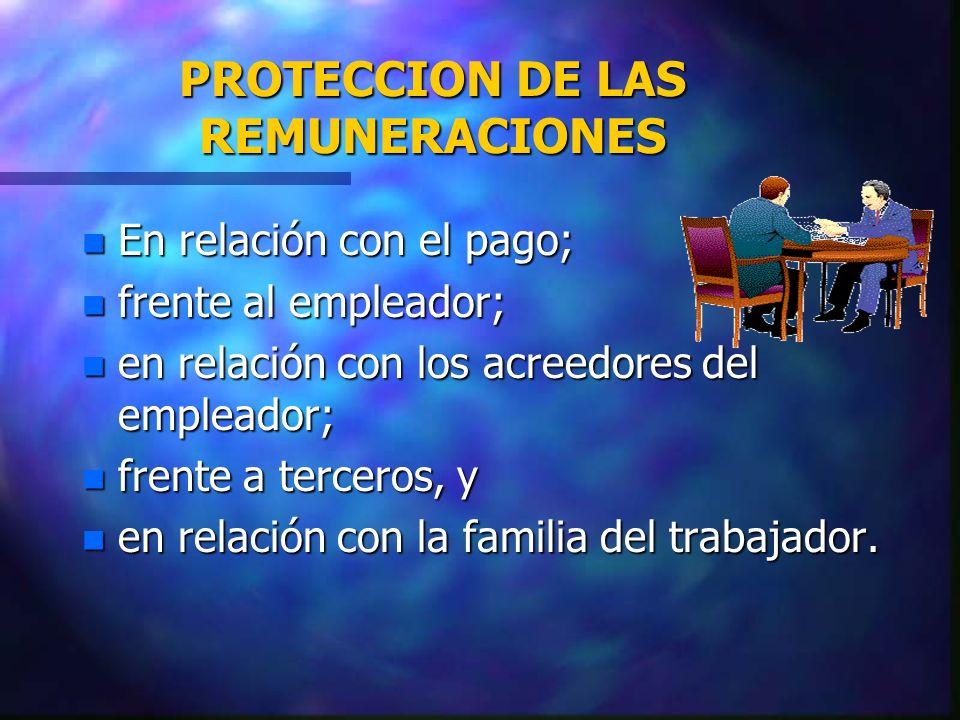 PROTECCION DE LAS REMUNERACIONES
