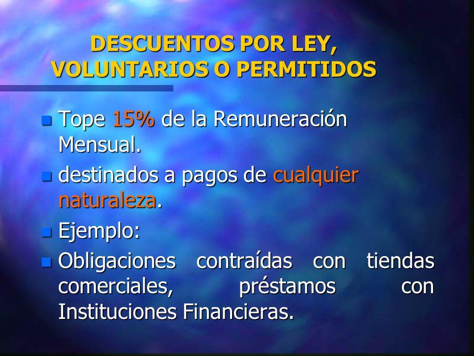 DESCUENTOS POR LEY, VOLUNTARIOS O PERMITIDOS