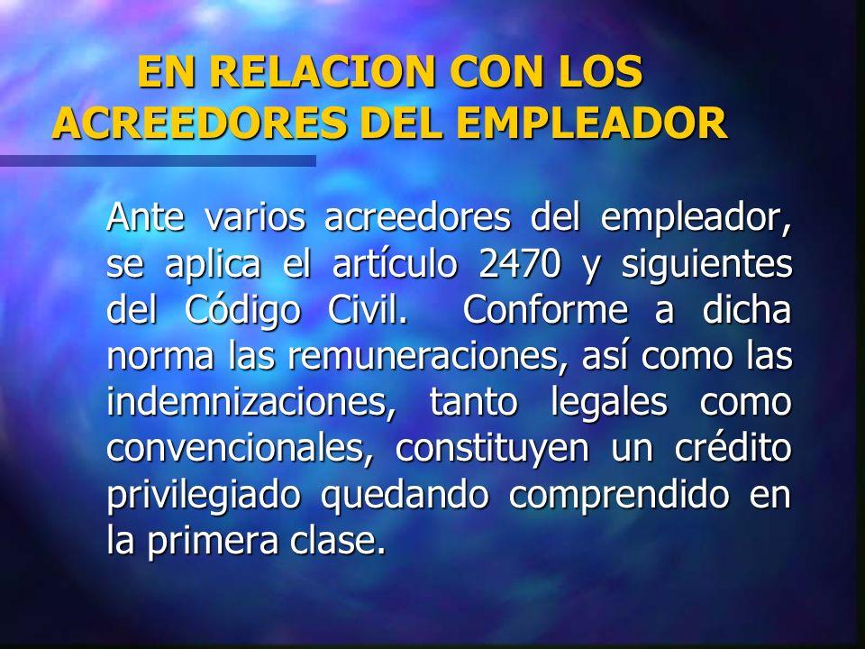 EN RELACION CON LOS ACREEDORES DEL EMPLEADOR
