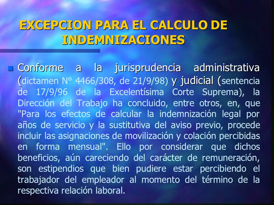 EXCEPCION PARA EL CALCULO DE INDEMNIZACIONES