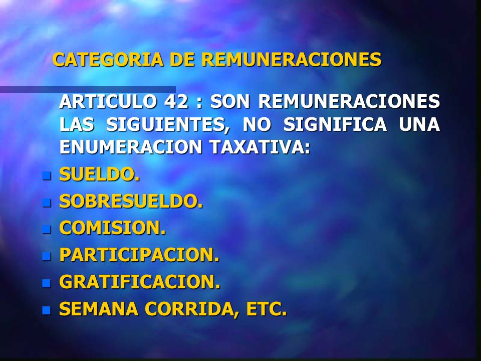 CATEGORIA DE REMUNERACIONES