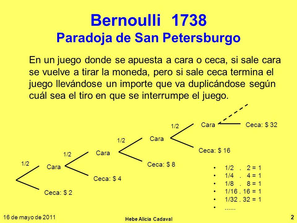 Bernoulli 1738 Paradoja de San Petersburgo