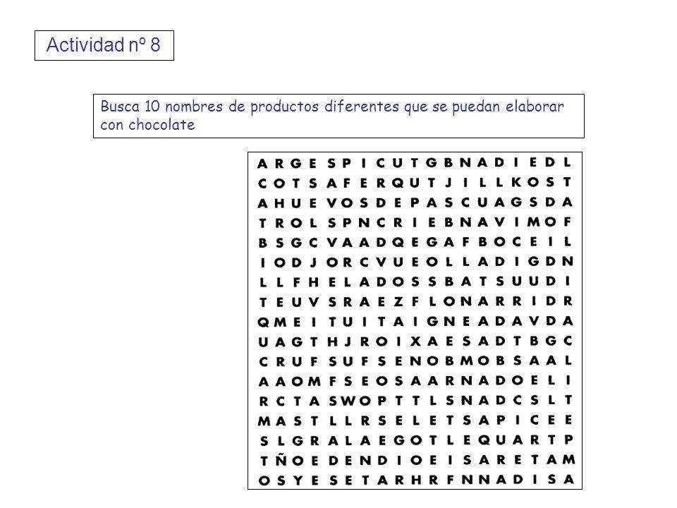 Actividad nº 8 Busca 10 nombres de productos diferentes que se puedan elaborar con chocolate