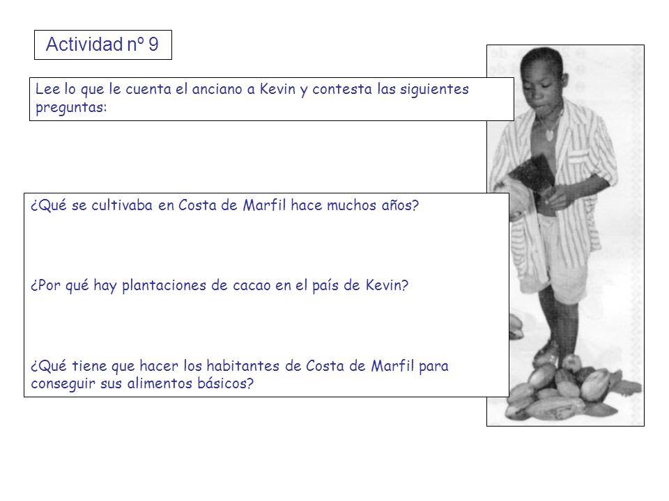 Actividad nº 9 Lee lo que le cuenta el anciano a Kevin y contesta las siguientes preguntas: ¿Qué se cultivaba en Costa de Marfil hace muchos años