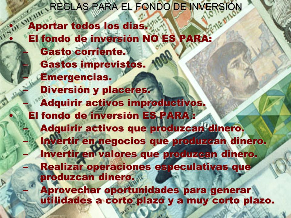REGLAS PARA EL FONDO DE INVERSIÓN