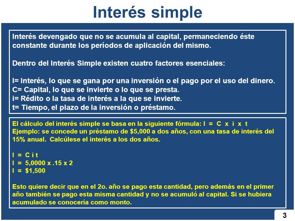 Interés simple Interés devengado que no se acumula al capital, permaneciendo éste constante durante los períodos de aplicación del mismo.