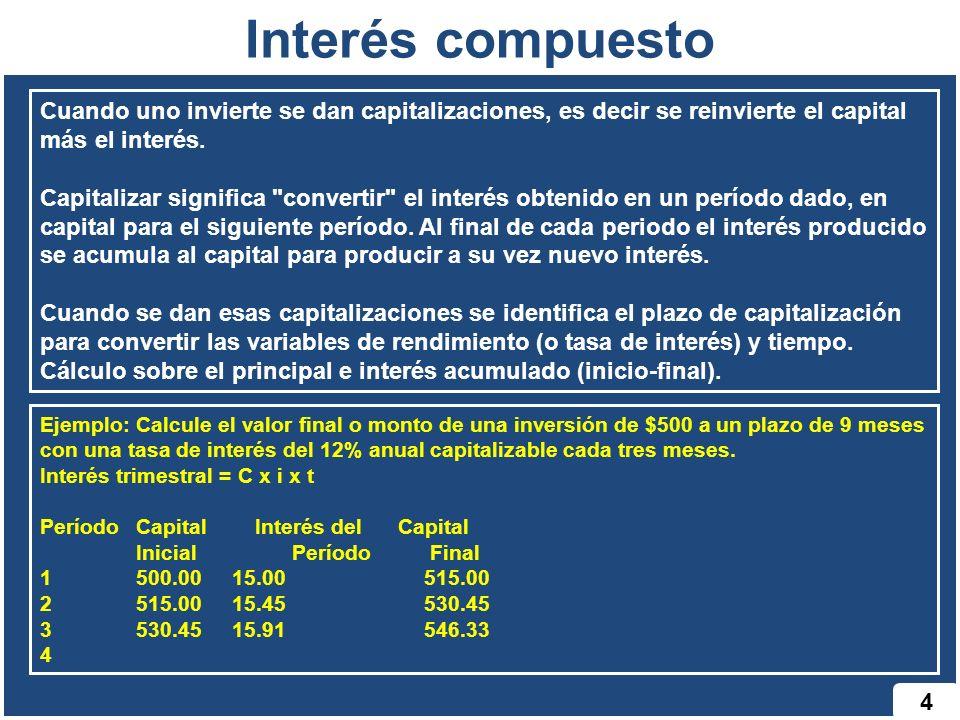 Interés compuesto Cuando uno invierte se dan capitalizaciones, es decir se reinvierte el capital más el interés.