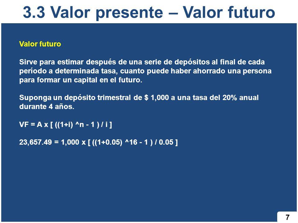 3.3 Valor presente – Valor futuro
