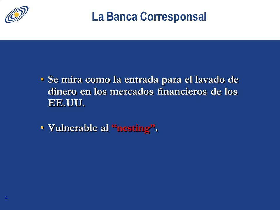 La Banca Corresponsal Se mira como la entrada para el lavado de dinero en los mercados financieros de los EE.UU.