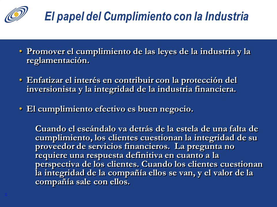 El papel del Cumplimiento con la Industria