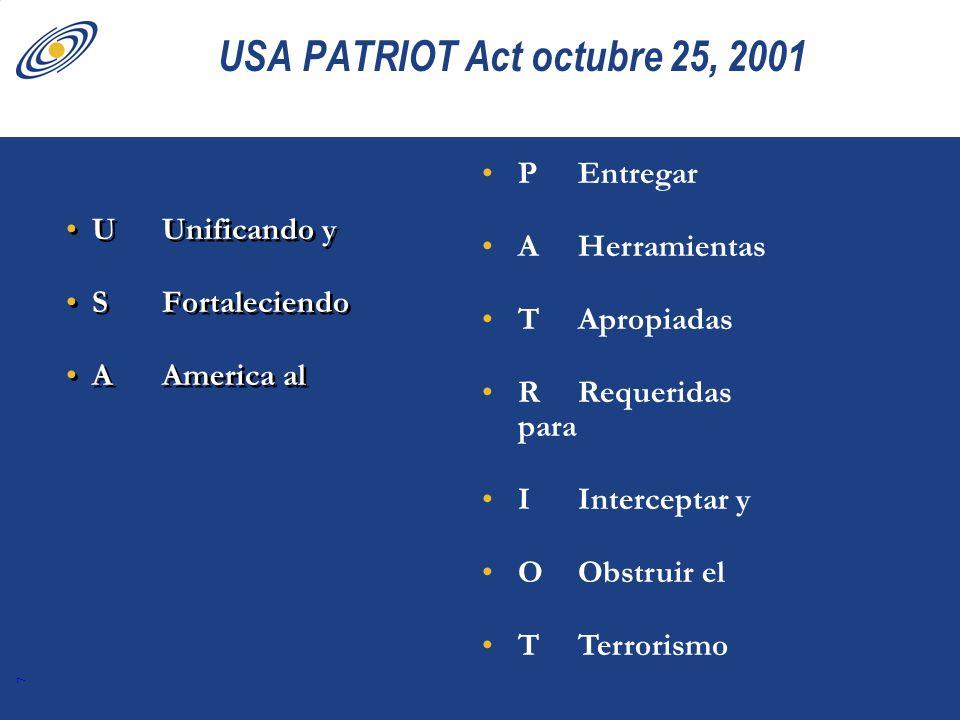 USA PATRIOT Act octubre 25, 2001