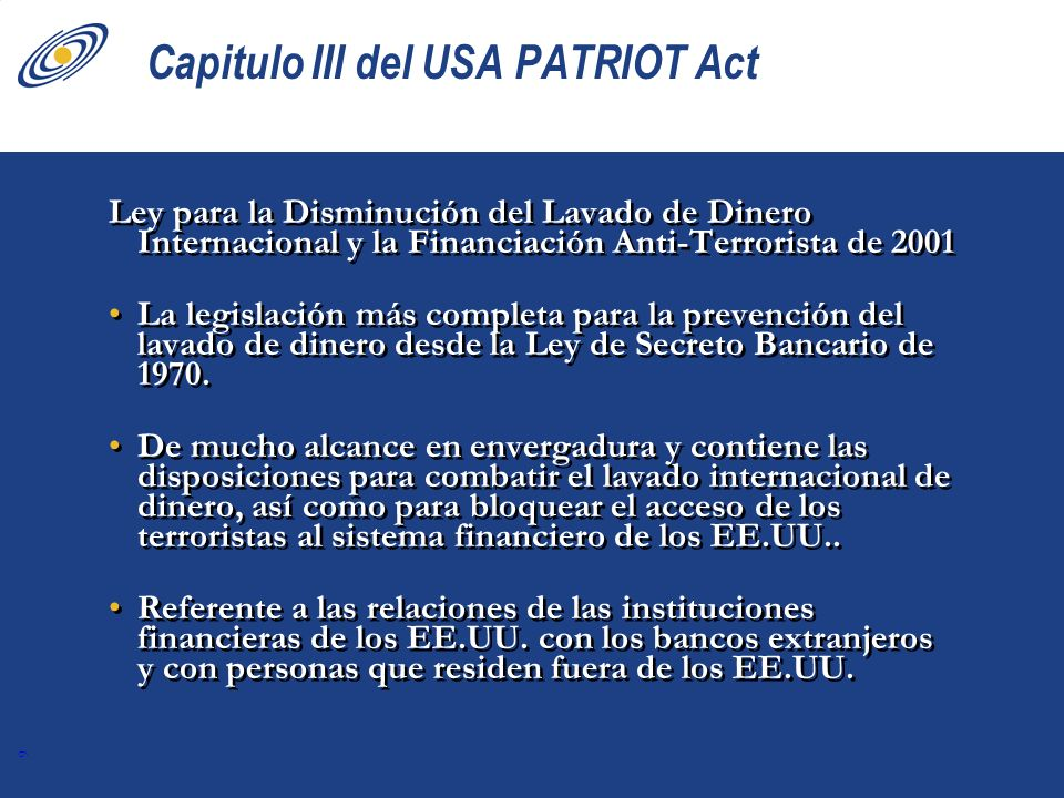 Capitulo III del USA PATRIOT Act