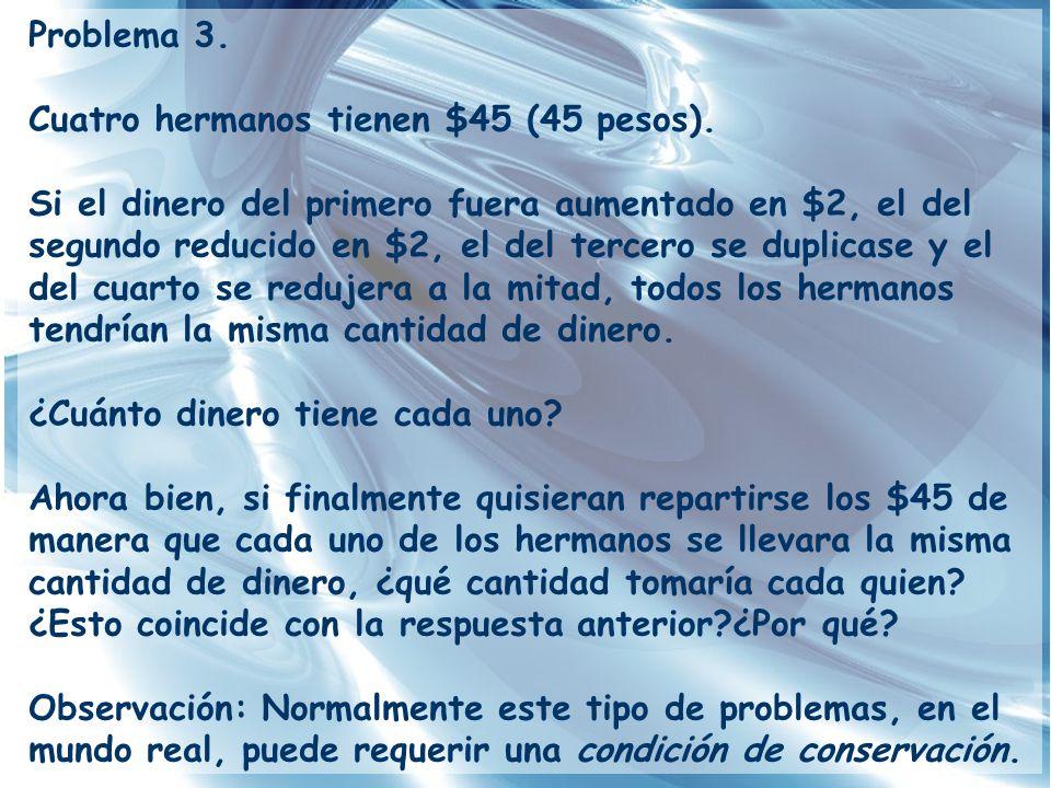 Problema 3. Cuatro hermanos tienen $45 (45 pesos).