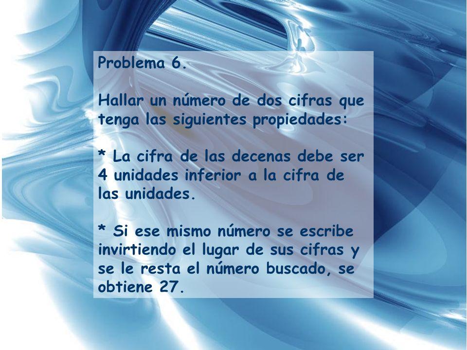 Problema 6. Hallar un número de dos cifras que tenga las siguientes propiedades: