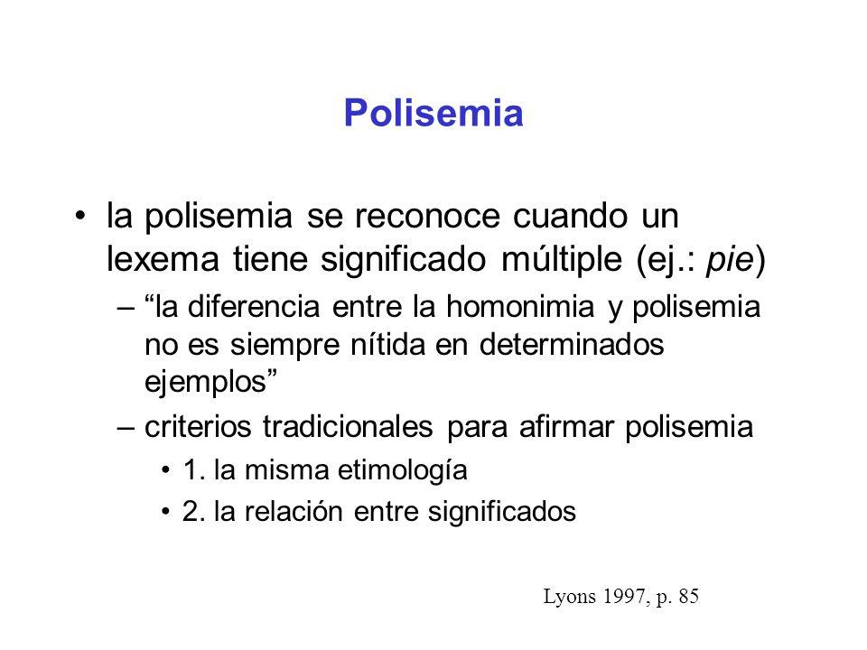 Polisemia la polisemia se reconoce cuando un lexema tiene significado múltiple (ej.: pie)