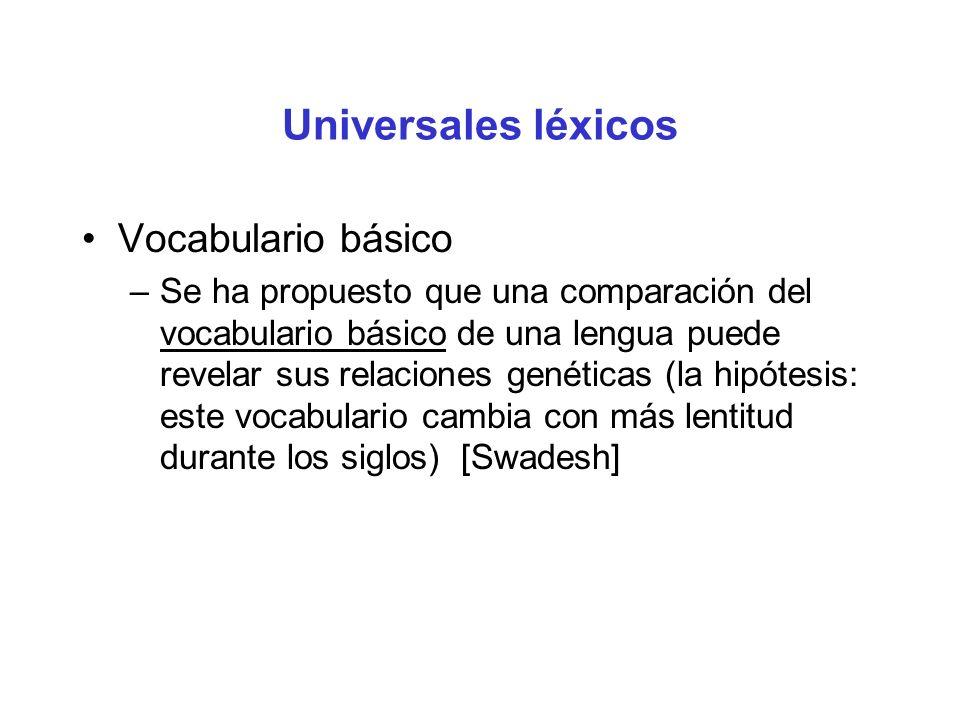Universales léxicos Vocabulario básico