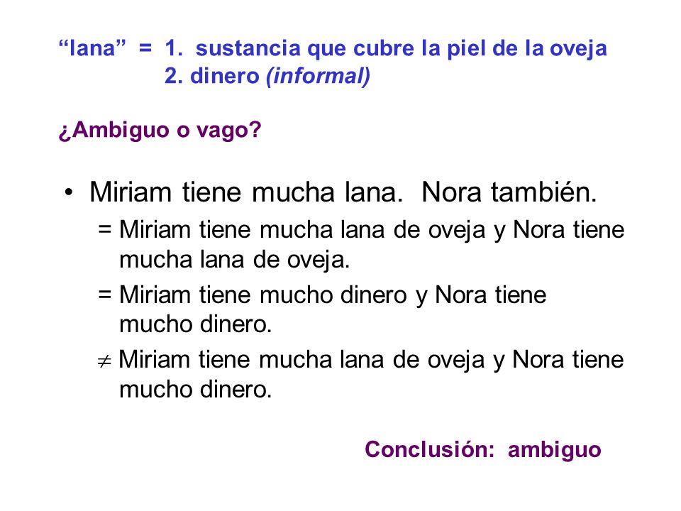 Miriam tiene mucha lana. Nora también.