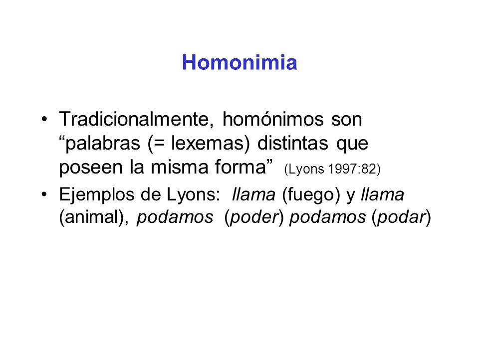 Homonimia Tradicionalmente, homónimos son palabras (= lexemas) distintas que poseen la misma forma (Lyons 1997:82)