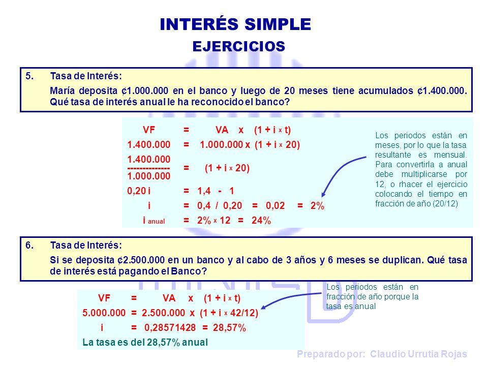 INTERÉS SIMPLE EJERCICIOS Tasa de Interés: