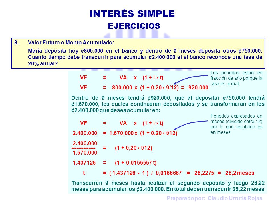INTERÉS SIMPLE EJERCICIOS Valor Futuro o Monto Acumulado: