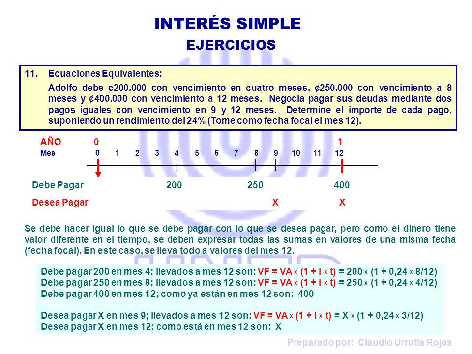 INTERÉS SIMPLE EJERCICIOS Ecuaciones Equivalentes:
