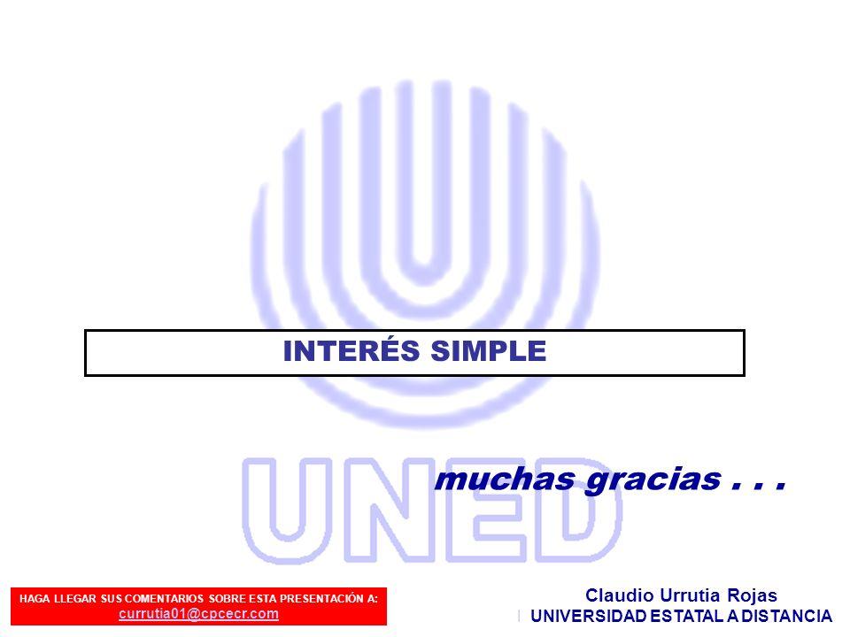 muchas gracias . . . INTERÉS SIMPLE Claudio Urrutia Rojas