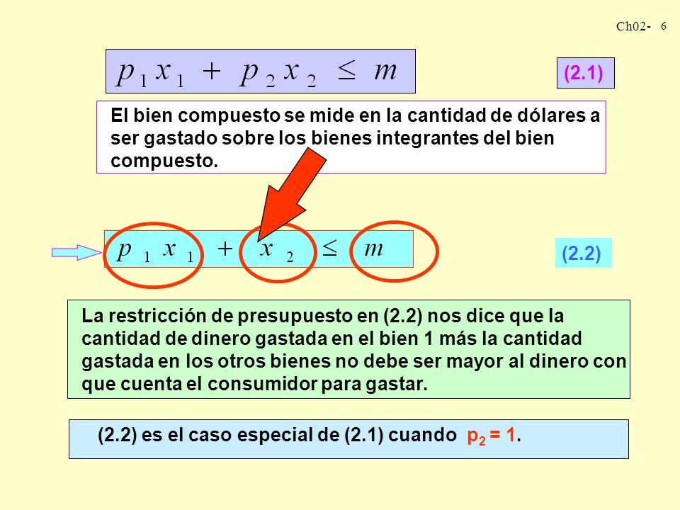 (2.1) El bien compuesto se mide en la cantidad de dólares a ser gastado sobre los bienes integrantes del bien compuesto.