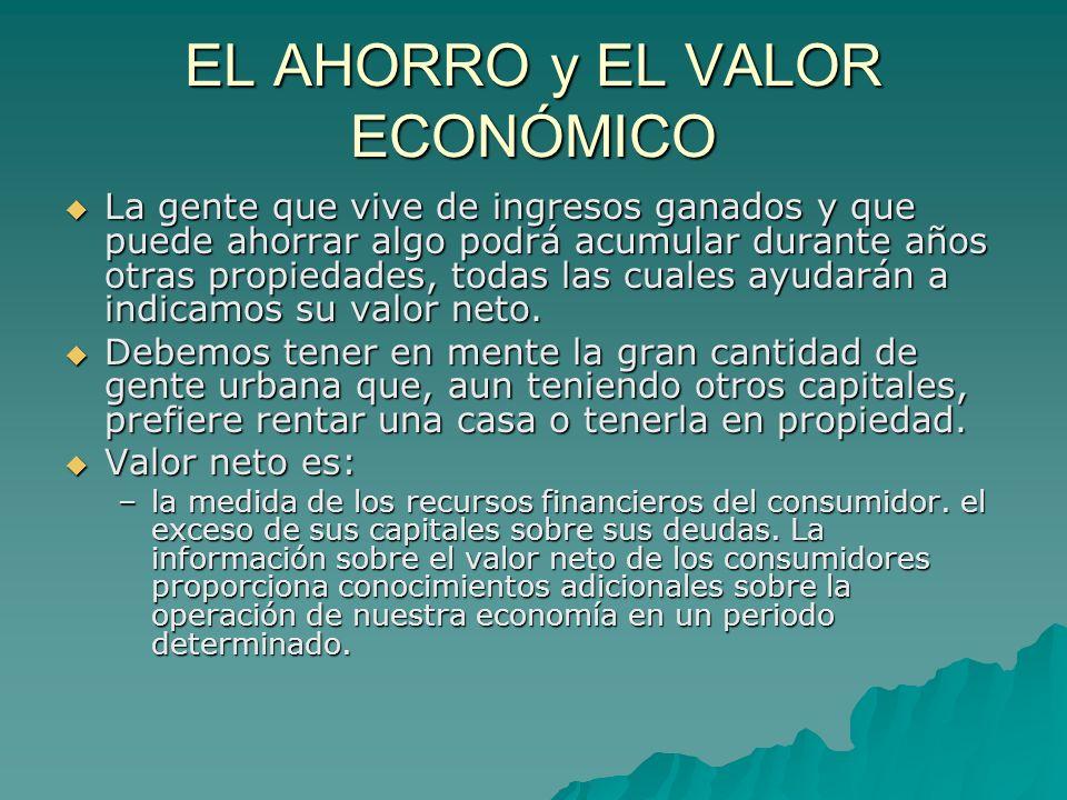EL AHORRO y EL VALOR ECONÓMICO