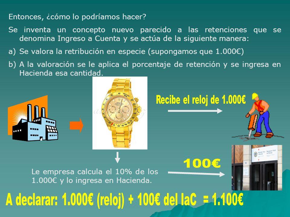 A declarar: 1.000€ (reloj) + 100€ del IaC = 1.100€