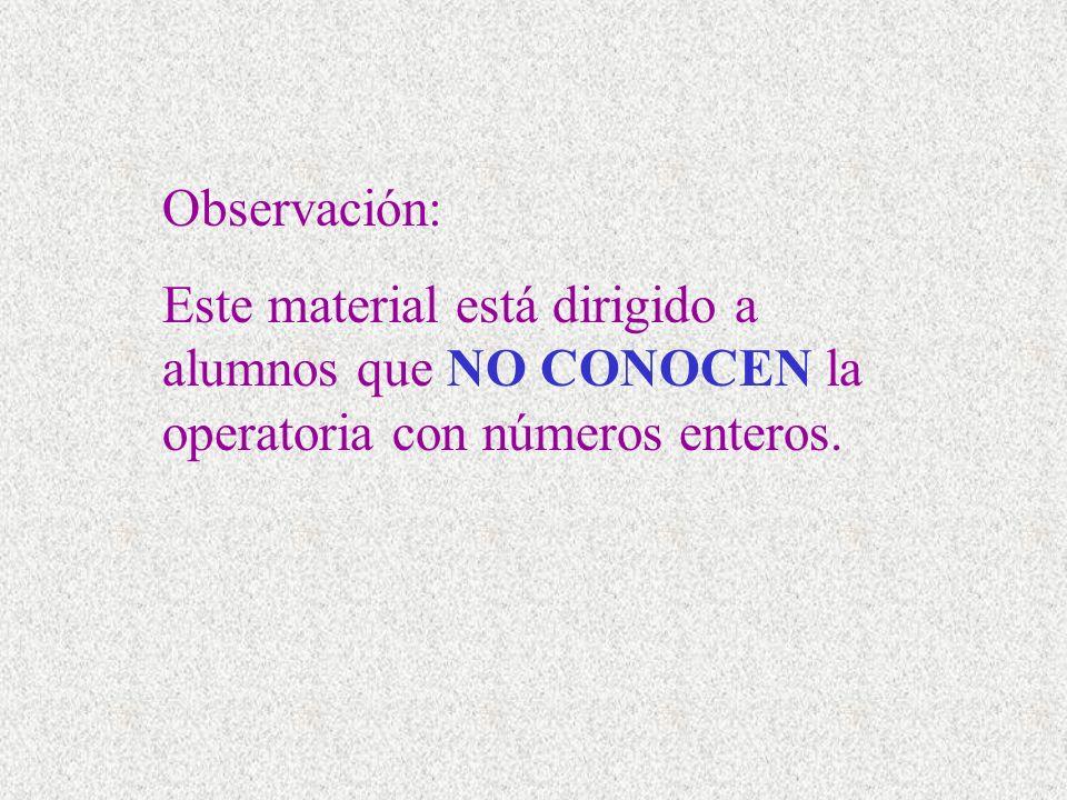 Observación: Este material está dirigido a alumnos que NO CONOCEN la operatoria con números enteros.