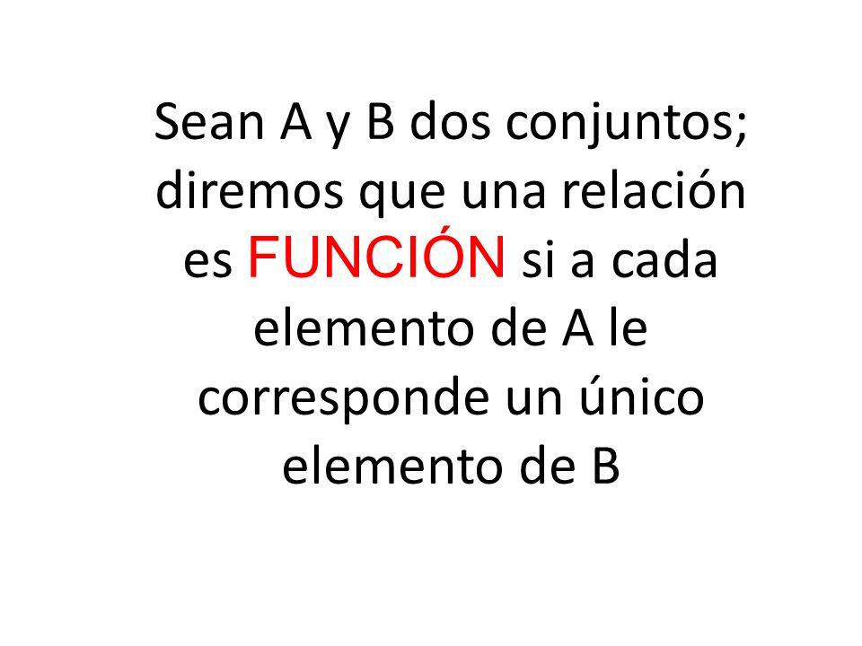 Sean A y B dos conjuntos; diremos que una relación es FUNCIÓN si a cada elemento de A le corresponde un único elemento de B