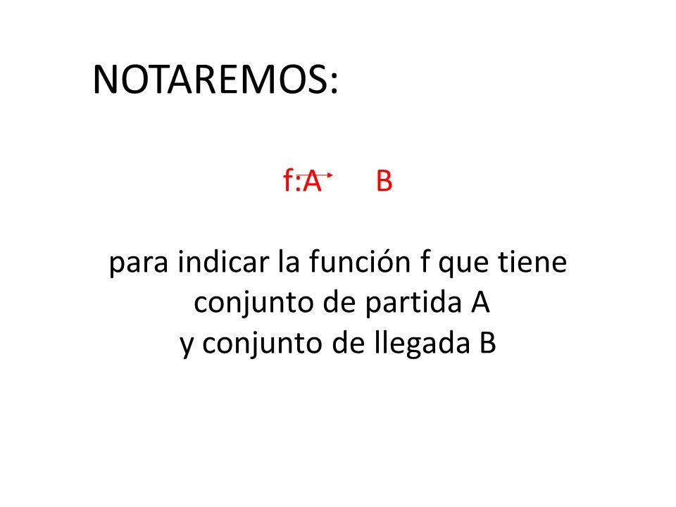 para indicar la función f que tiene