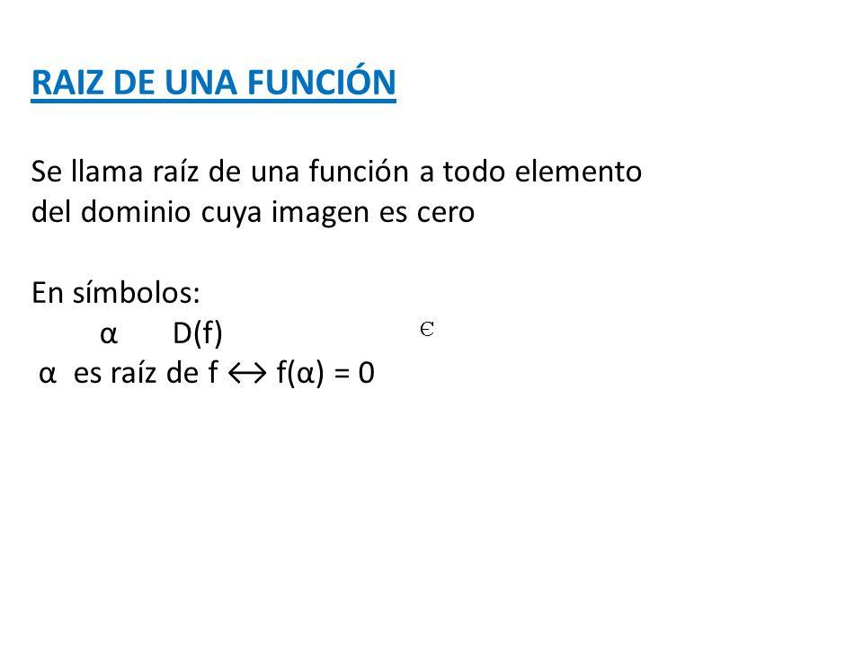 RAIZ DE UNA FUNCIÓN Se llama raíz de una función a todo elemento