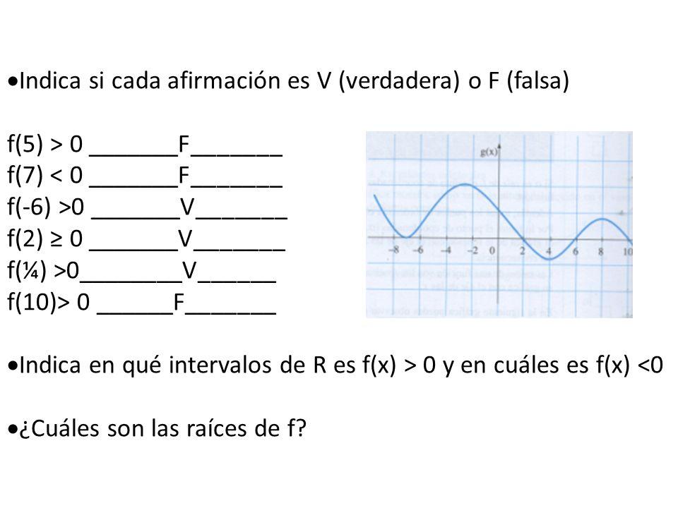 Indica si cada afirmación es V (verdadera) o F (falsa)