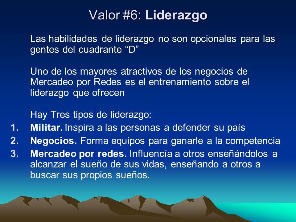 Valor #6: Liderazgo Las habilidades de liderazgo no son opcionales para las gentes del cuadrante D