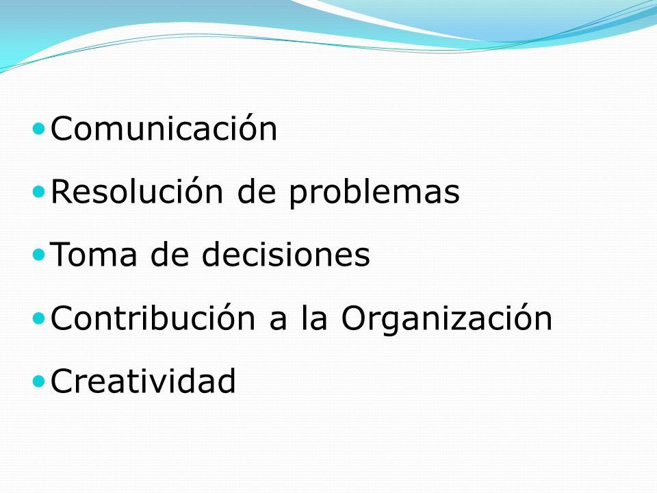 Comunicación Resolución de problemas Toma de decisiones Contribución a la Organización Creatividad