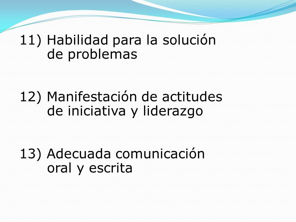 11) Habilidad para la solución