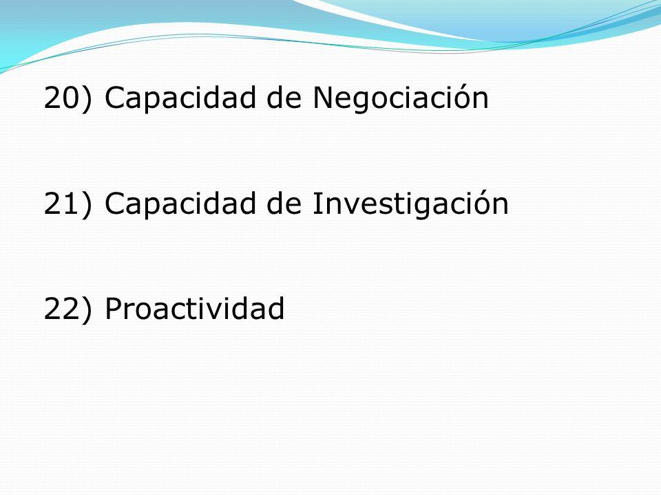 20) Capacidad de Negociación