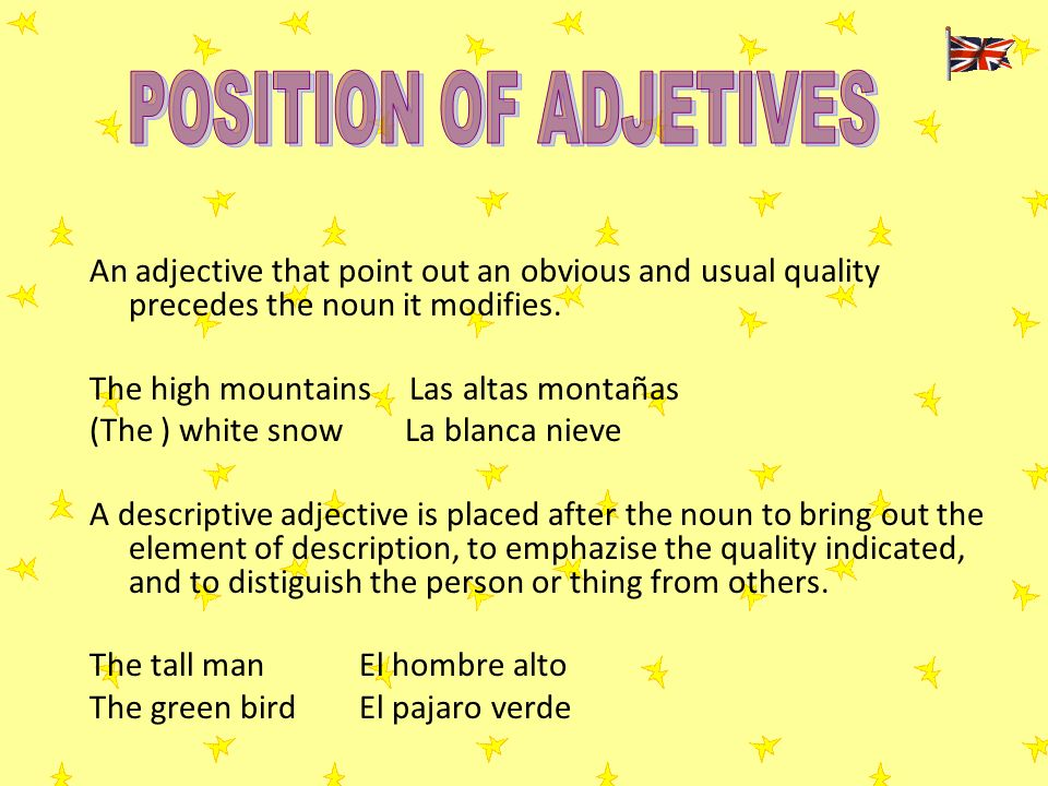 POSITION OF ADJETIVES An adjective that point out an obvious and usual quality precedes the noun it modifies.