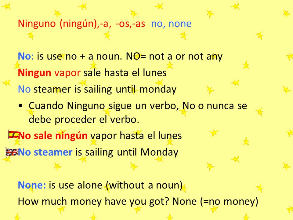 Ninguno (ningún),-a, -os,-as no, none