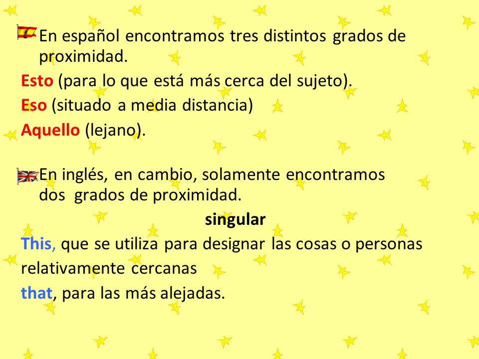 En español encontramos tres distintos grados de proximidad.